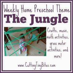 Jungle or Rainforest Theme Weekly Home Preschool.  Gross motor activities, crafts, picture books, and more!  Perfect amount of EASY activities for one week of home preschool.