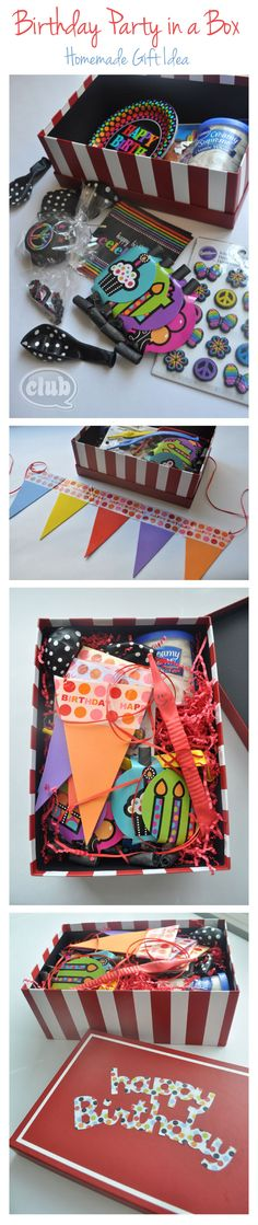 Birthday Party in a Box Homemade Gift Idea DIY. Perfect gift to send when you can't celebrate with someone in person!