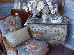 french blue & painted chest