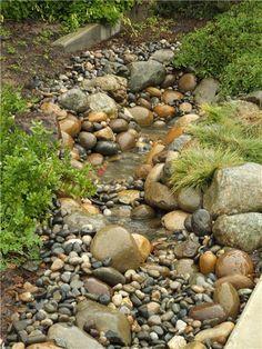 dry creek, landscaping ideas, creek bed, dri creek, rain garden