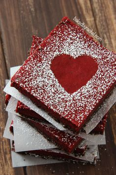 Red Velvet Cheesecake Bars Recipe from bakedbyrachel.com #chocolates #sweet #yummy #delicious #food #chocolaterecipes #choco #chocolate
