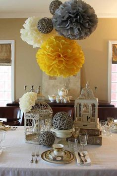 Dessert Table , Grey and Yellow Wedding  @Lea Hutcherson  those balls!!!