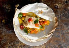 Halibut with tomatoes, squash, basil