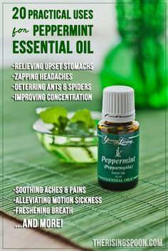 20 Practical Uses For Peppermint Essential Oil   therisingspoon.com + Enter to Win a 5-ML bottle of Young Living Peppermint Essential Oil! #giveaway #nontoxic #diy #healthyliving #natural #essentialoils #herbs