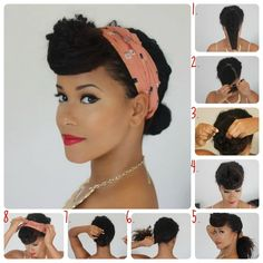 Easy Retro Hair:  1. Make a front part for bangs and put the rest of your hair into a low ponytail.  2. Begin rolling your bangs.  3. Secure with hair pins.  4. This is how your finished bang should look.  5. For this step I have longer hair so I'm taking the hair tie out and only using pins for my bun. For shorter hair, leave your hair in the low ponytail.  6. Twist ponytail into a small bun.  7. Secure firmly with hair pins.  8. Tie a headscarf around your head and in the front, tie two knots.