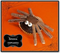 Spider cupcakes - chocolate cakes shaped like spiders which are really EASY but look and taste great! Great to make with the kids for HALLOWEEN!