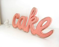cake wedding signs wooden word decoration shabby chic Coral Melon. $58.00, via Etsy.