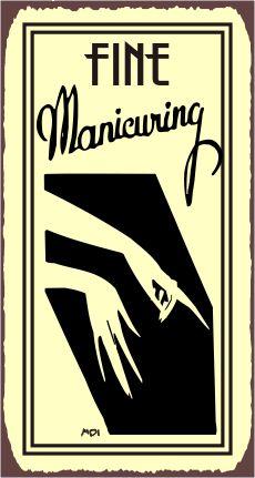 Fine Manicuring Vintage Metal Art Salon Retro Tin Salon Sign