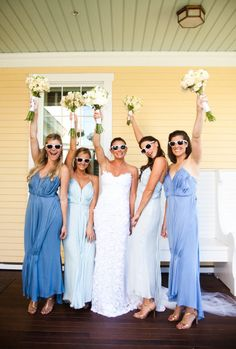 "There's no better ""something blue"" than your bridesmaids' dresses"