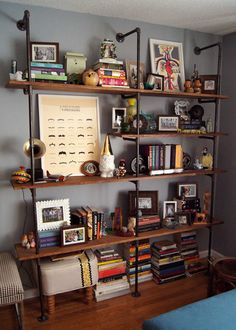 DIY industrial Pipe and wood shelves. Rustic built in shelves. Wouldn't it be Lovely