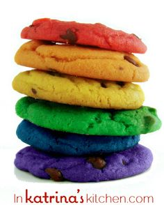 "Rainbow cookies... If you want to really make them more special serve these on ""clouds"" of white cotton candy that have been sprinkled with iridescent edible glitter. Lay the cookies out in a rainbow pattern:)"