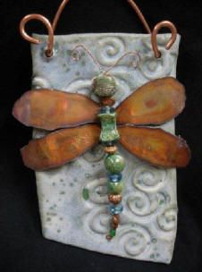 Clay slab with bead dragonfly