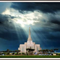Gilbert temple- Glory to God Clouds.  He is aware of us. Photographed by Peggy Peterson.