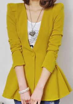 Yellow Long Sleeve Single Button Ruffles Suit