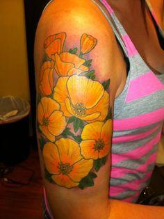 California poppy tattoo on my right arm.