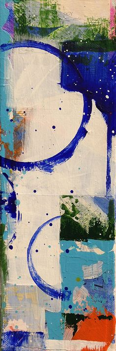 #Blue Notes 2 original acrylic and collage #abstract $60.00
