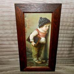 Chromolithograph of Dutch Boy - Mission Oak Frame - Wolf & Company 1912