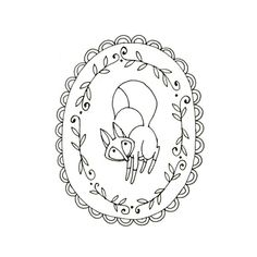Fox Embroidery Pattern Woodland Animal Digital Downloadable. $2.00, via teenytinyhappythings on Etsy.