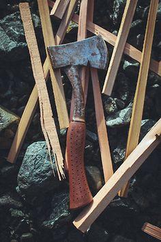 hand #axe w kindling  benchandcompass:  hatchet.  #axe Leather handle hatchet