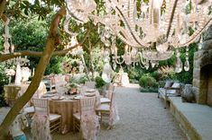love the idea of the frills on the chairs, and the chandelier hanging from tree branches  outdoor party | Tumblr