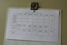 Great example of chore charts.