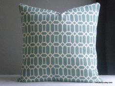 Trellis indoor outdoor aqua pillow cover  fabric both by MicaBlue, $25.00