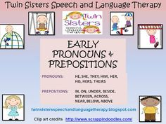 Early Pronouns and Prepositions   Pronouns and prepositions are common grammar areas to target with our pre-k kiddos. We developed this packet to keep the younger crowd moving and having fun while they learn to use them correctly. Here is a list of the pronouns and prepositions targeted in this fun playground themed treatment packet.