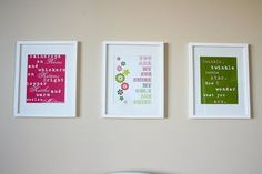 Make your own Nursery prints with lyrics from your favorite songs/lullabies.http://naturesheirloom.blogspot.com/