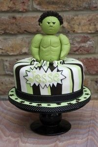 You wouldn't like me when I'm angry! Purposefully less scary version of The Incredible Hulk for a boy's 4th birthday party. 4th birthday, birthday parties, cake inspir, beauty cake, birthday idea, bakeri, cake bites, birthday boy, birthday cakes