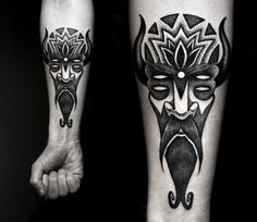 Polish tatt artist Kamil Czapiga from Katowice makes use of the neo-Impressionist pointillism technique of using tiny dots of pure colors to craft stark, crisp tattoos that blend tribal mythology and timeless geometry most holistically. Wow.
