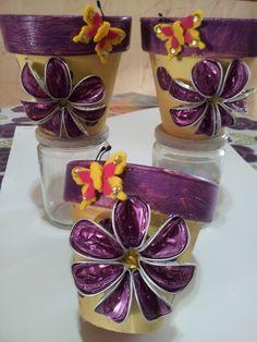 macetero decorado con capsulas de cafe