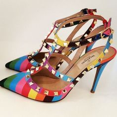 Style.com posted this shot of rainbow-brite Valentino rockstuds