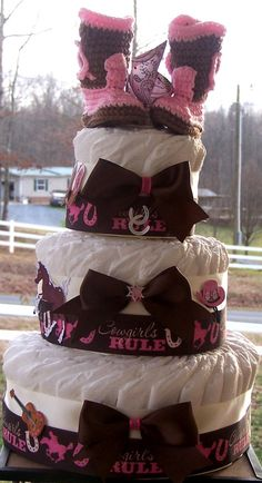 Cowgirl Diaper Cake Girl Diaper by FromDiapers2Divas, $79.00