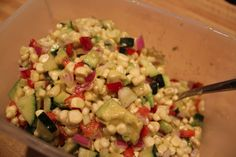 summer picnic, corn salad, bell peppers, chili peppers, summer salads, red onion