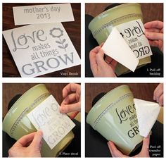 Mothers Day DIY Flower Pot Decal / Love Quote by LittleAcornsByRo, $4.95