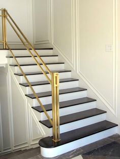 brass balustrade, cutest staircas, stair rail, idea, basement stairs, hous, brass staircas, brass rail, piano stairway