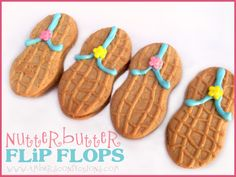 Nutter Butter Flip Flops & Sandy Bottom Pretzels + beach themed party and shower ideas from Amber's Confections.
