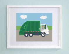 Garbage Truck Nursery Art  Lemur Kids Wall by GrizzlyBearGreetings, $16.00