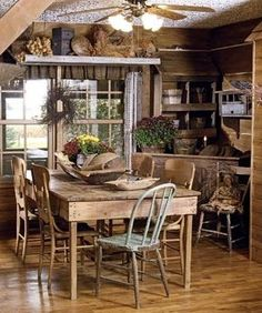 Primitive kitchen - ideas for decoration arrangements