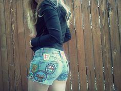 DIY patch shorts
