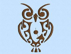 Owl Tribal Tattoo machine embroidery design file - 2 sizes on Etsy, $3.50