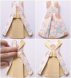 Оригами с платьями из бумаги