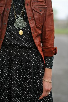 polka dots, statement necklaces, cloth, dresses, outfit, the dress, black white, leather jackets, hijab styles