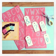 Sewing tags with Amy Tangerine embroidery kit, Capture & Inspire. www.polkadotcreative.com.au