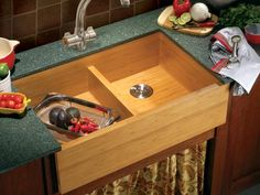 Think beyond traditional porcelain. This bamboo apron-front sink is durable and, yes, waterproof!