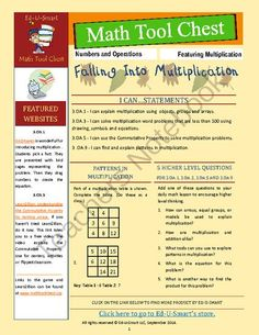 3rd Grade Common Core Multiplication Resources from Ed-U-Smart on TeachersNotebook.com -  (5 pages)  - Save time and  money while spicing up your introduction to multiplication with Falling into Multiplication freebie. This compact resource is filled with helps for 3rd grade Common Core multiplication.