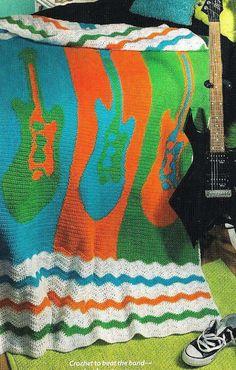 Crochet Rock & Roll Guitar Ripple Afghan