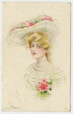 ANTIQUE POSTCARD PRETTY LADY WHITE HAT DRESS PINK ROSES FLOWERS BLONDE HAIR 1911