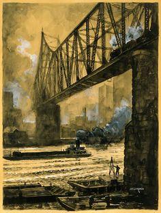 Wabash Railroad Bridge, c. 1926. Otto Kuhler (1894-1976)  teigl: