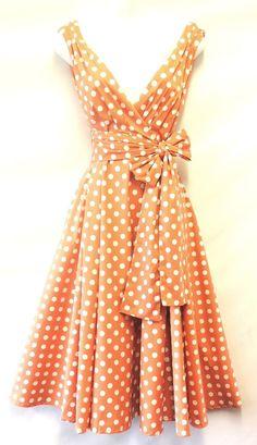 New Spot Pin up Vintage1950s style Peach Polka Dot Summer Swing Tea  Dress -- I need this dress!!